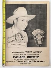 Vintage 1930's GENE AUTRY 'Autographed' KQV Radio SONS of the PIONEERS Poster