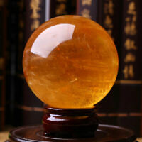 70MM+Stand Natural Yellow Quartz Crystal Sphere Ball Healing Mineral Specimen