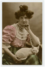 c 1907 Pretty Young Woman Lady w/ White Cat tinted photo postcard