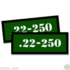 22-250 Ammo Can Stickers 2x Ammunition Gun Case Labels  GREEN Decals 2 pack