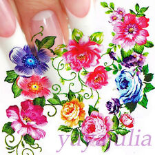 Nail Art Decal Water Slide Transfer Rose Flower Style Stickers 11 in 1 W28
