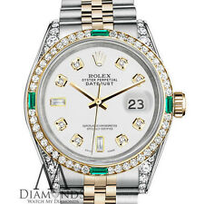 Women's Rolex Steel and Gold 36mm Datejust Watch White 8+2 Diamond Emerald Dial