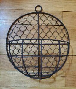 Rustic Chicken Wire Floral Basket Wall Hanging Veggie Bin Mail Holder Home Decor