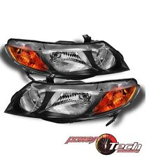 Black 2006-2011 Honda Civic 4-Door Sedan Headlights Headlamps 06-11 Left+Right