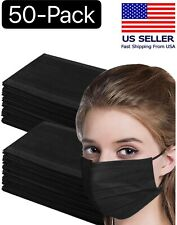 50 Pcs Black 3-Ply Face Mask Disposable Non Medical Surgical Earloop Mouth Cover