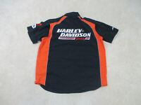 Harley Davidson Button Up Shirt Adult Large Black Motorcycle Biker Mens B31