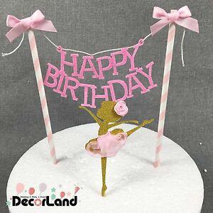 HAPPY BIRTHDAY Dancing Girl Pink Elegant Cake Bunting Banner Cake Topper