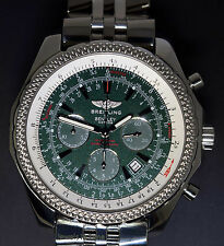 breitling for bentley stainless steel case wristwatches breitling bentley motors steel green dial 48mm mens chronograph watch a25362