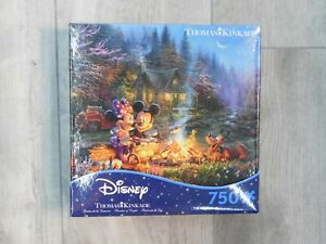 Disney Thomas Kinkade Mickey & Minnie Sweetheart Campfire 750 Piece Puzzle