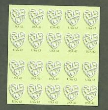 {BJ stamps}  4271  Wedding Hearts. Love.  MNH 42¢  Pane of 20.  Issued in 2008