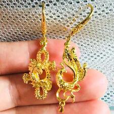 Yellow Gold Filled Chinese Jewelry Gift Dragon Phoenix Drop Earrings Women 24k