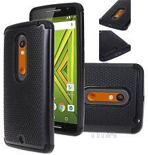 Fits Motorola Moto X Play Case Rugged Impact Hybrid Shockproof Cover - Black