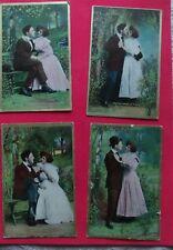 Set of 4 Vintage Valentine Postcards Circa 1909 Anglo Series American Lovers