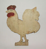 Old Antique Vtg Ca 1900s Folk Art Wooden Rooster Figure Plaque Original Paint