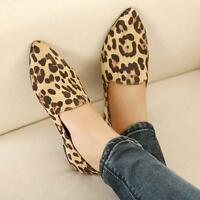 Womens Leopard Pointy Toe Flat Heel Ballerina Slip On Loafers Casual Shoes Size