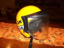 1970's SKI-DOO SNOW MOBILE HELMET YELLOW WITH VISOR SHIELD Size M
