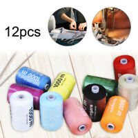 12 PC spools of 100% pure sewing thread, 1000 yards of multi-color sewing thread