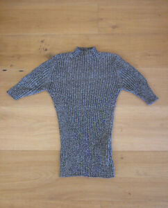 Veronika Maine Ribbed Fitted Top Grey Cotton/Cashmere Size M