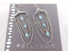 SILPADA Sterling Silver RARE Turquoise VIVA LA DIVA Barcelona Incentive Earrings