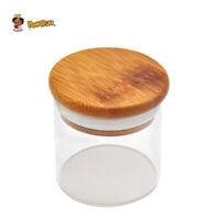 HONEYPUFF Clear Glass Stash Container Airtight Seal Storage Jar Bamboo Lid 87ML