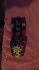 Vintage Cow Bell Door Chime Strap Edelweiss Flower Dog Heart Blue Red White