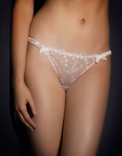 AGENT PROVOCATEUR AMBROSE PINK & IVORY SHEER THONG 10-12 UK  3 (M) BNWT BRIDAL