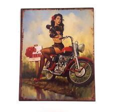 Blechschild sexy Girl Pin up Motorrad Biker Braut Retro Nostalgie Vintage Schild