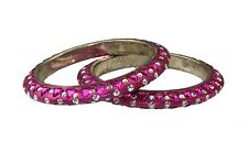 Pair of Pink glitter diamante & triangle stone bangles Indian Bollywood Jewelery