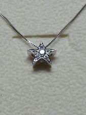 collana oro bianco 18 kt stella  a pavè di diamanti naturali  0,12 ct  girocollo