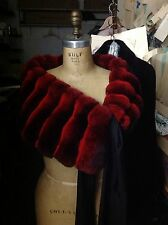 DYED RED EMPRESS CHINCHILLA Wrap Shawl Shrug Evening Stole Coat Silk RIBBON BOW