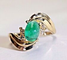Fine 14K Yellow Gold 1CT Colombian Emerald Cabochon Diamond Wave Ring Size 6.5