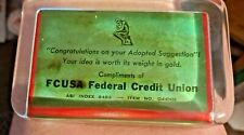 Fcusa Vintage Glass Paperweight Advertising!