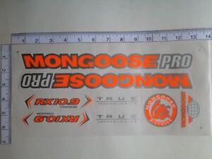 Mongoose PRO RX 10.9 Titanium Stickers  Orange, Silver & White. Die Cut.