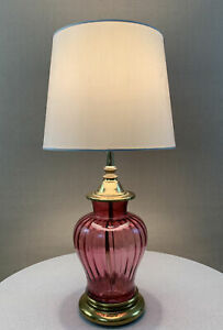 Vintage Retro Modern Circa 1980's Memphis Purple Glass & Brass Lamp