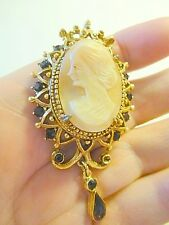 Vintage Florenza CAMEO Pin Brooch Pendant & Pin
