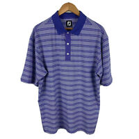 Footjoy FJ Mens Golf Polo Shirt Size XL Striped Purple Short Sleeve
