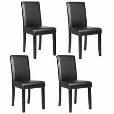 Dinette Room Black Leather Backrest Set of 4 Dining Chair Elegant Design Kitchen