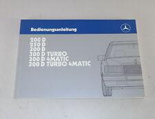 Betriebsanleitung Mercedes W124 200 D / 250 D (Turbo) / 300 D (Turbo) Stand 1988