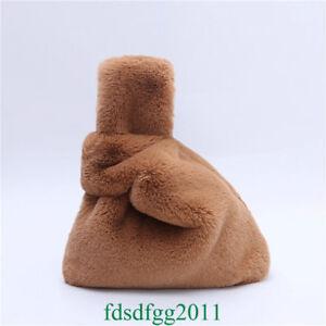Women Rex Rabbit Fur Clutch Bag Faux Fur Handbag Fluffy Fuzzy Wrist Bag Shoulder