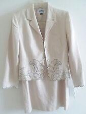 NWT Kasper Khaki Tan Beige Embroidered Women's Skirt Suit 100% Linen Size 6 $240