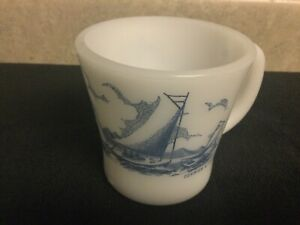 Vintage Glasbake Milk Glass Mugs - Blue and White Sailing Boats - Currier & Ives