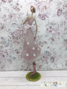 Gilde Figurine Woman IN Summer Dress Pink Flowers Metal Vintage Cottage
