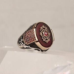 Handmade pure 925 SILVER rings men agate stone jeweller wedding Gift Box RRP£50
