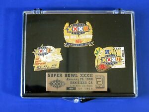 SUPERBOWL XXXII  1998 COMMEMORATIVE PIN SET Packers vs Broncos ~ NEW