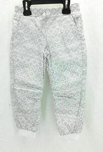Carter's Girls Jogging Pants Elastic Waist Elastic Cuff Cream Gray Snowflake 5T