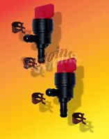 """2 Universal  Inline 1/4"""" x 90 Degree Fuel Gas Cut Off Shut Off Valve & 4 Clamps"""