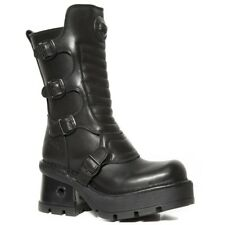 NEWROCK Men/'s New Rock M.373X-S24 Black Cow Leather Goth Biker Punk Heavy Boots