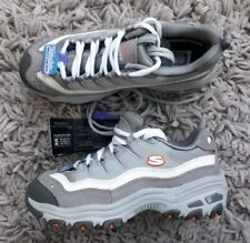 SKECHERS D LITES GIRLS TRAINERS SPORTS SHOES SIZE UK 2 NEW GREY SNEAKERS