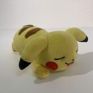 Official Pikachu Pokemon Lying Down Soft Toy Plush TOMY Nintendo Sleeping Smile