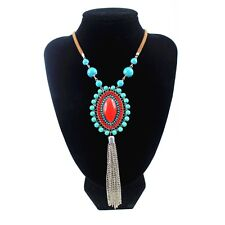 BOHO GYPSY BEACH HOLIDAY LEATHER  RED / BLUE STONES SILVER TASSLES NECKLACE N8